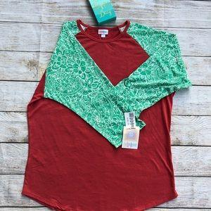 NWT LuLaRoe 2XL Randy shirt. Red-orange w/green